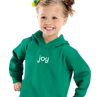 Toddler in sweatshirt hoodie with positive words on it