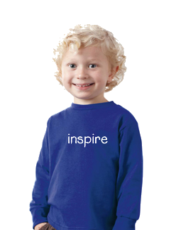 Toddler in long sleeve T-shirt with positive words on it