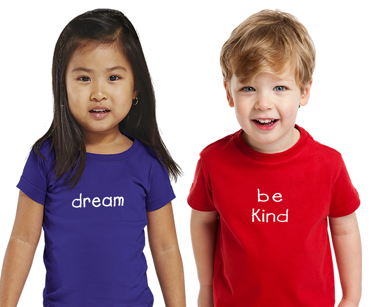 Two Toddlers with positive words on their T-shirts